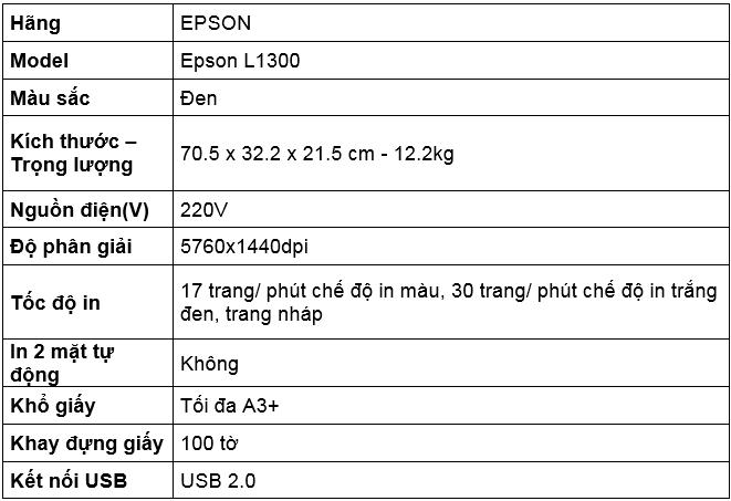 Thông Số Máy In Phun Màu EPSON L1300